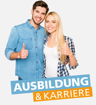 Zwei lachende Teenager mit Daumen nach oben hinter Ausbildung & Karriere-Schriftzug